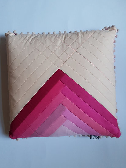 Ombre cushion - pale pink & bright pinks