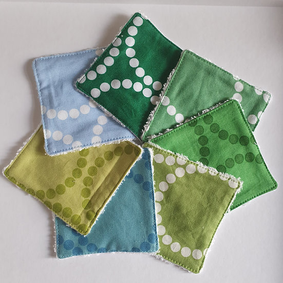Deluxe reusable wipes - circles dots blues & greens