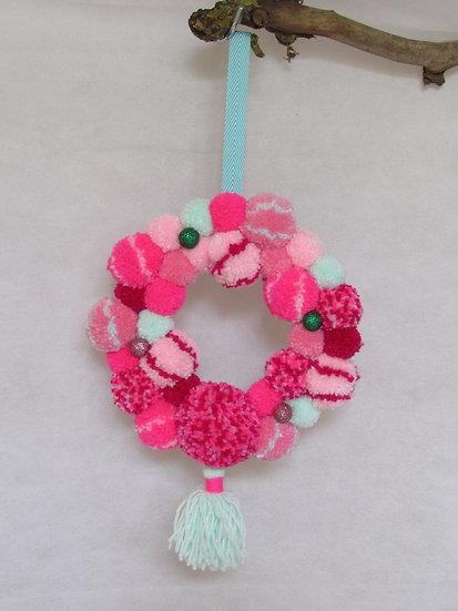 pom pom wreath - pink and mint