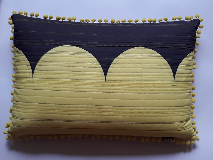 Moorish cushion - yellow and grey