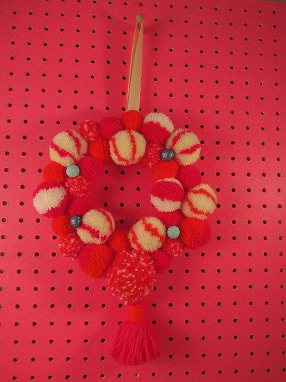 pom pom wreath - cream and neon