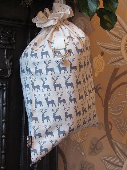 Santa's stocking present sack - cream with grey deer