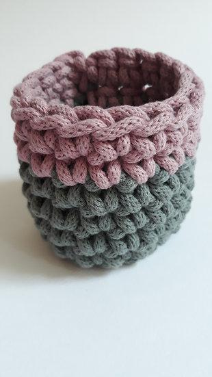 Crocheted cuff bracelet - slate grey & dusty pink