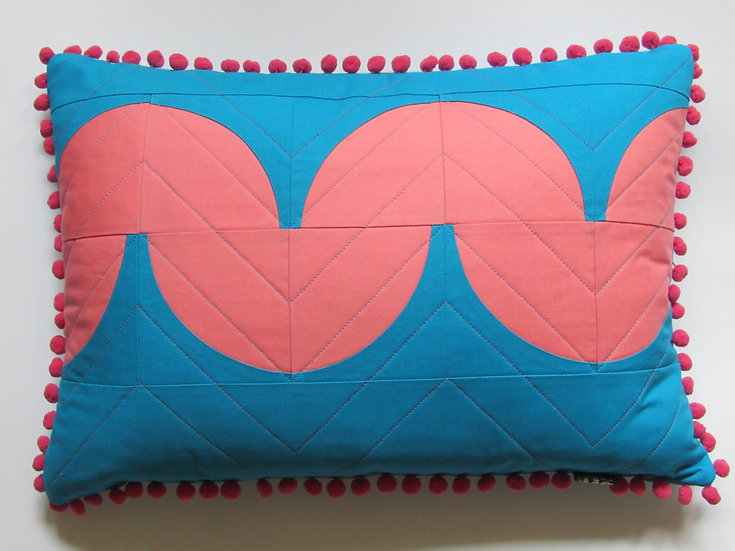 Quibble cushion - turquoise & melon