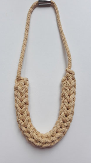 Crocheted necklace - buttery yellow