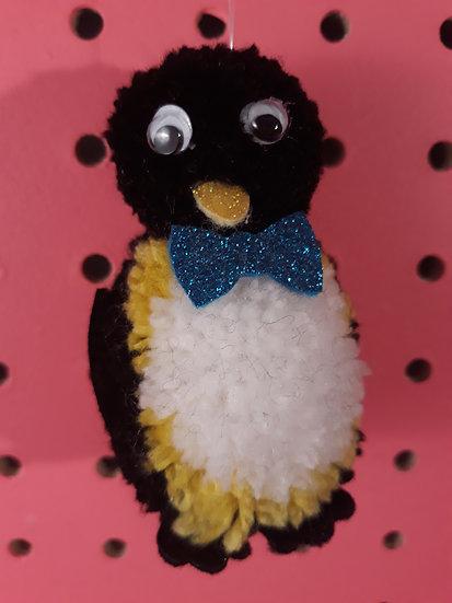 Pom pom penguin - dark turquoise bow tie