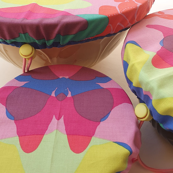 Fabric bowl cover set - pink butterflies with blue trim