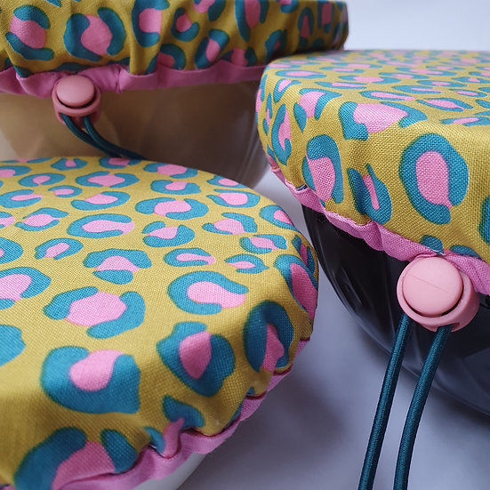 Fabric bowl cover set - yellow leopard