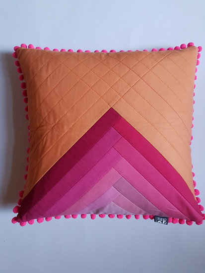 Ombre cushion - bright pink & peach
