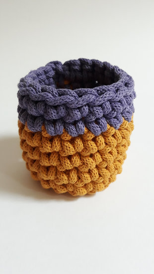 Crocheted cuff bracelet - mustard & purple