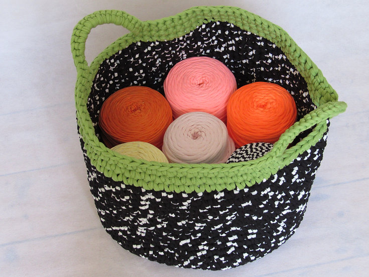 Large crocheted basket - black and white with green trim