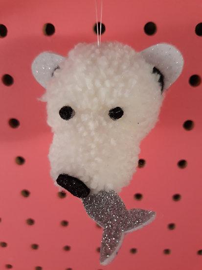 Pom pom polar bear - silver