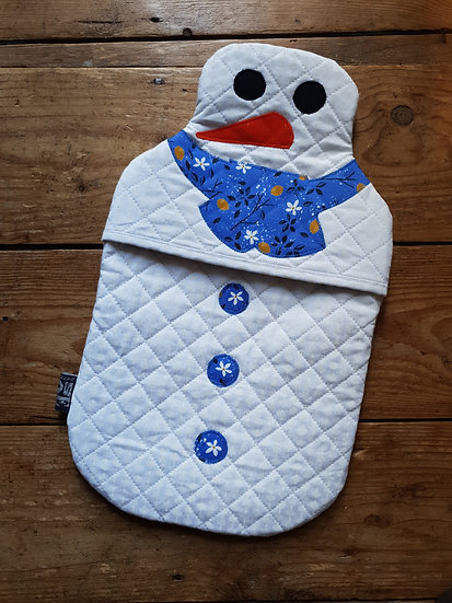 Snowman hot water bottle - blue flowers
