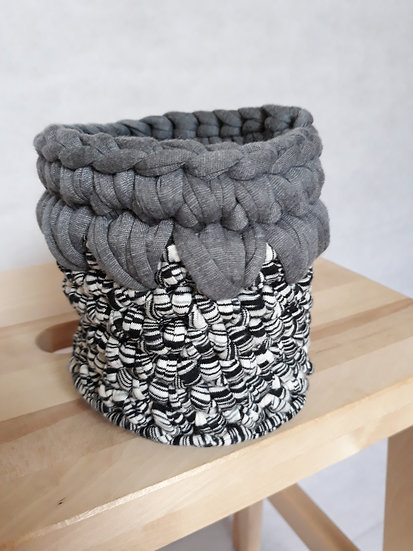 Crocheted basket - black & white with grey trim