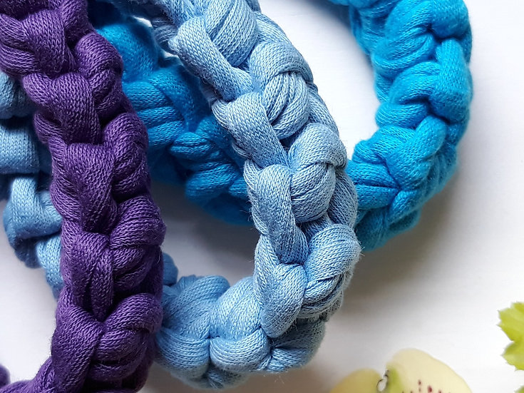 Crocheted bracelet - dusky blue