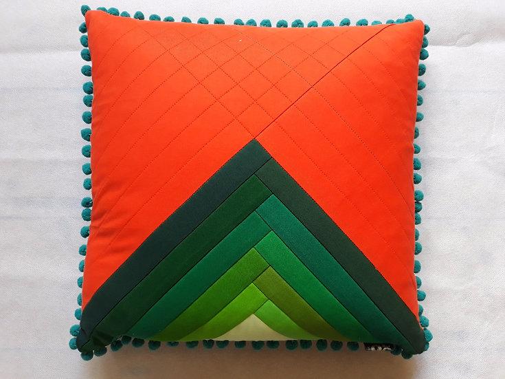 Ombre cushion - greens & orange