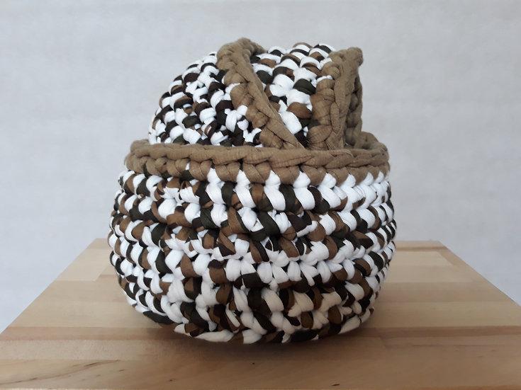 Crocheted basket set - khaki, white and black with khaki trim