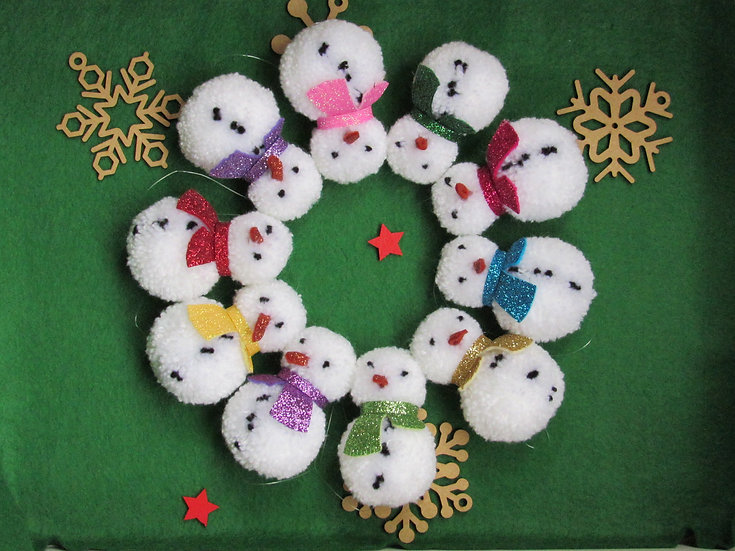 Pom pom Snowman Christmas tree decoration