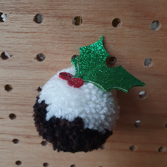 Pom pom Christmas pudding tree decoration