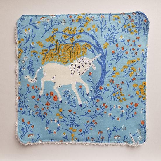 Kid's flannel/baby wipe - blue unicorn
