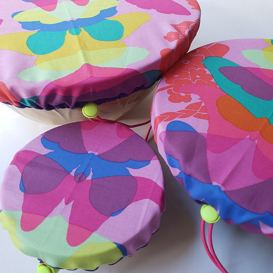 Fabric bowl cover set - pink butterflies with purple trim
