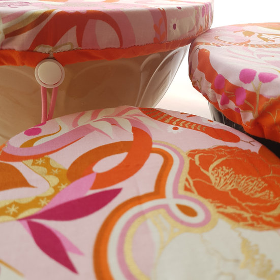 Fabric bowl cover set - pink snake