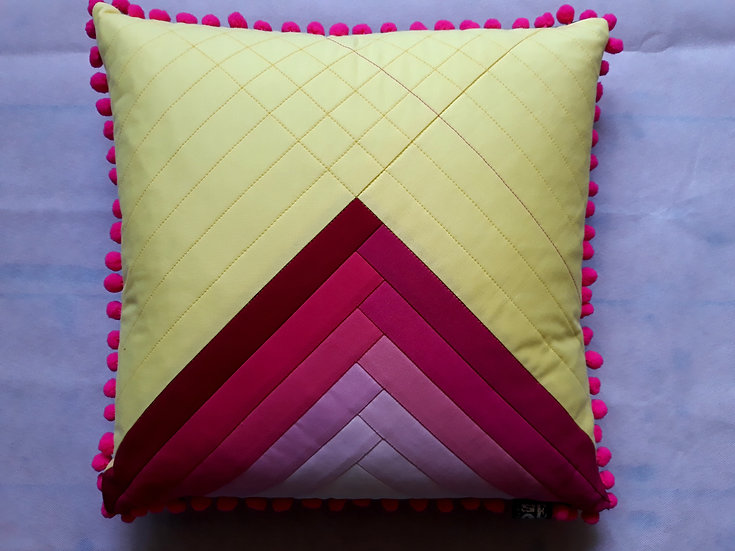 Ombre cushion - pinks & yellow