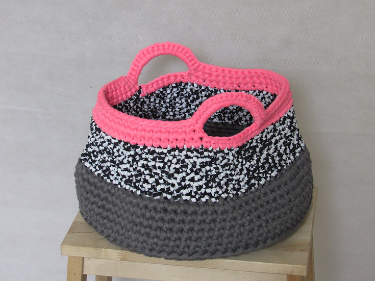Large crocheted basket - black, black & white with neon pink trim