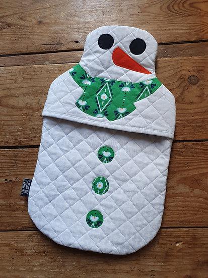 Snowman hot water bottle  - green