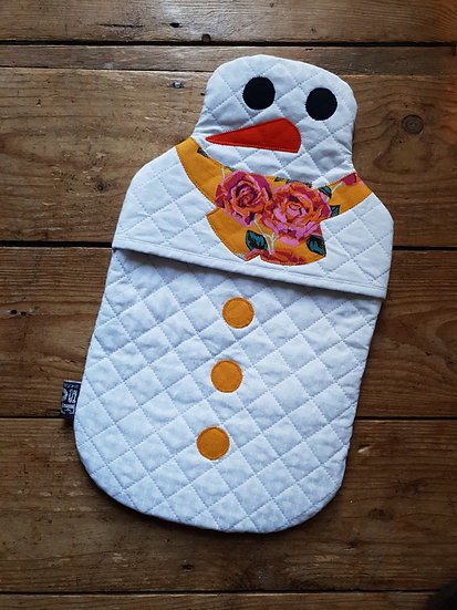 Snowman hot water bottle - yellow tea roses