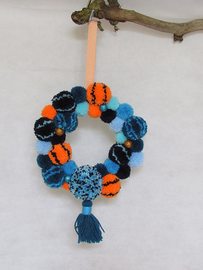 pom pom wreath - blue and orange