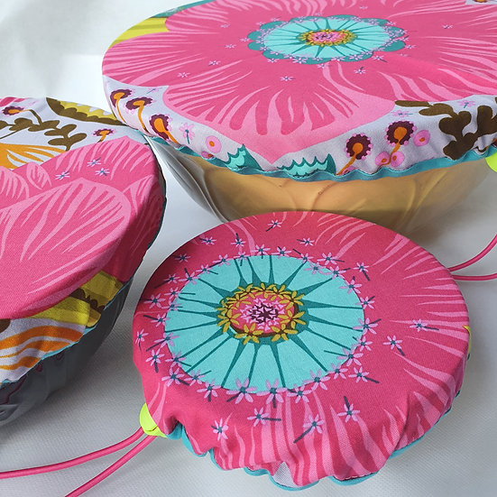 Fabric bowl cover set - pink flower