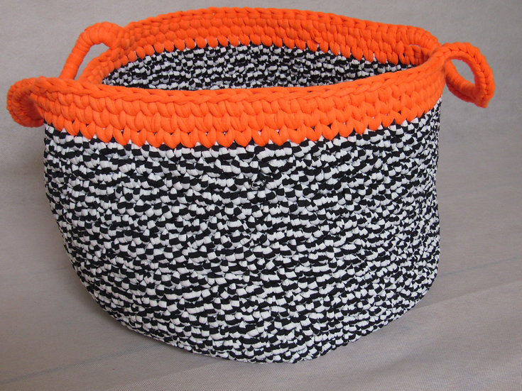 Large crocheted basket - black and white with neon orange trim
