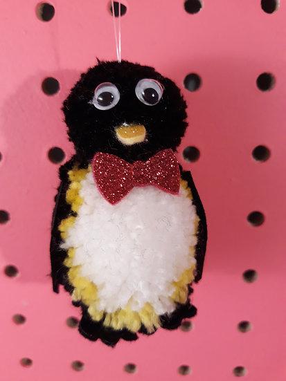 Pom pom penguin - dark pink bow tie