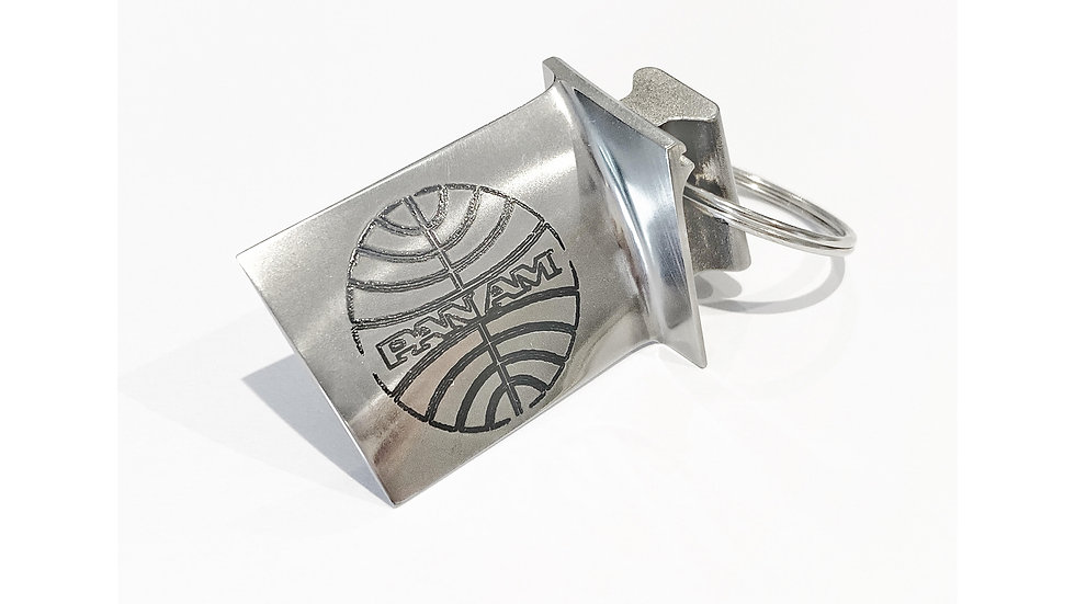 Pan Am Engraved Rolls Royce Jet Engine Blade Keyring