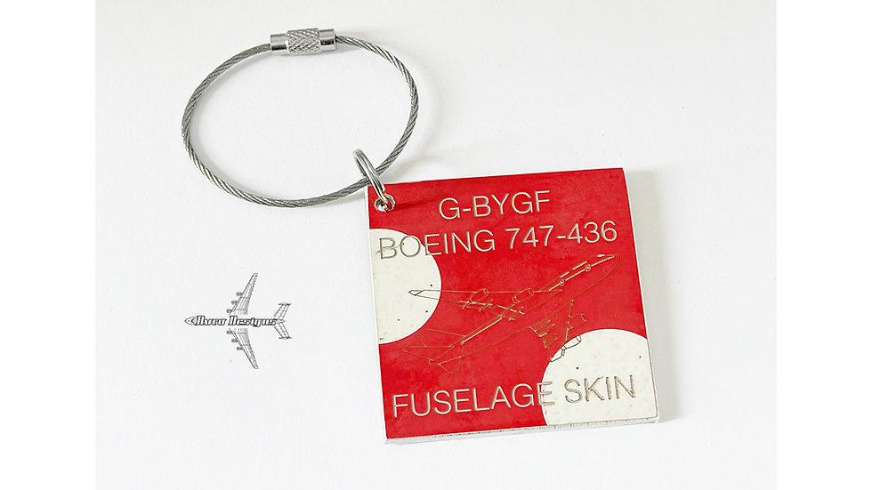 Ex British Airways Boeing 747 Fuselage Skin Tag G-BYGF