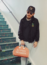 Jacket from The Block Vintage. Bag from Lost Foundry.