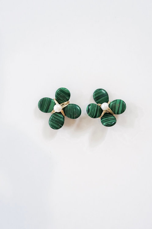 Green Floral Studs with Pearl Center