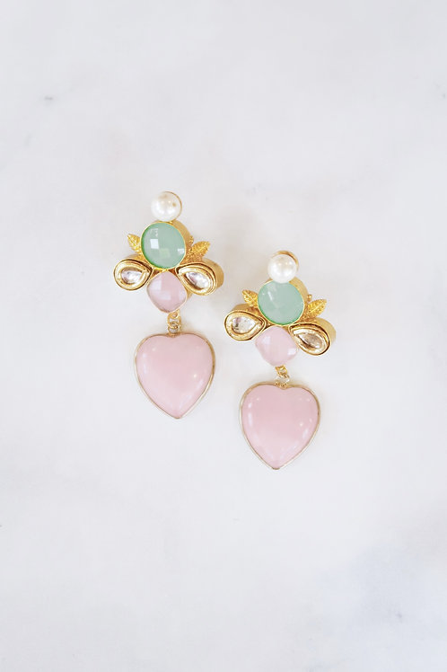 Green & Pink Chalcedony Hearts