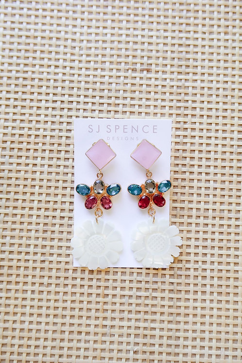 Pink Chalcedony & Multicolor Sunflower Drops