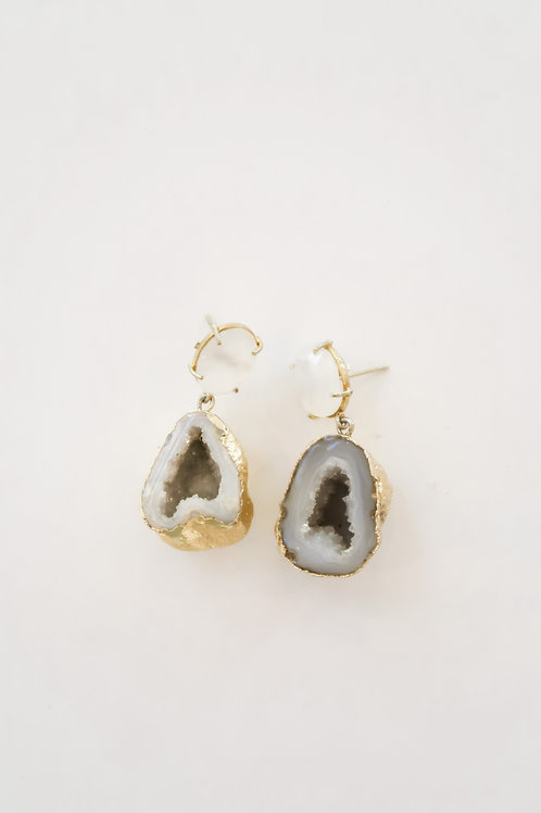 Gray and White Druzy Drops