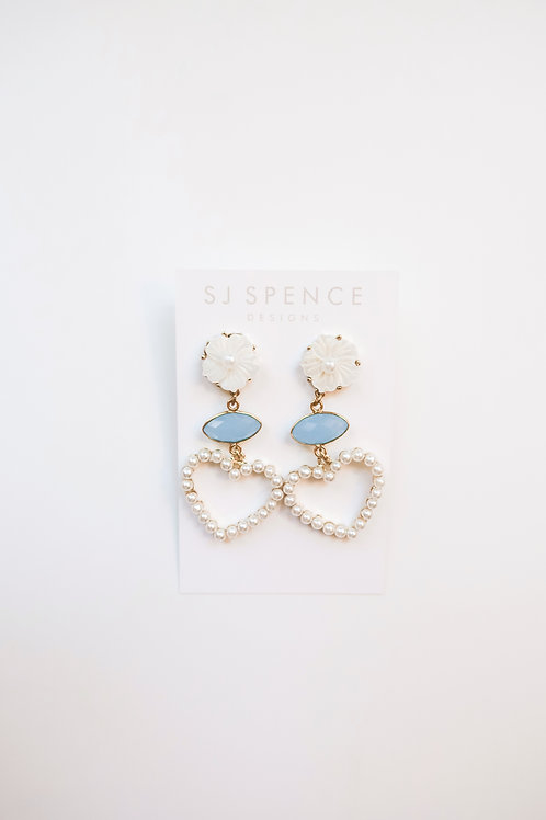 Blue and White Chalcedony Pearly Hearts