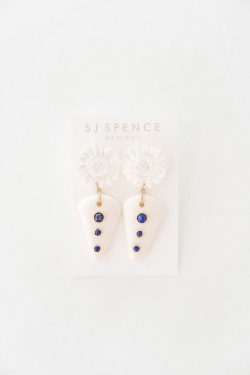 Blue Lapis and White Resin Drops