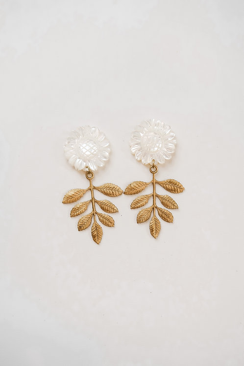Mother of Pearl Sunflowers & Brass Leaves