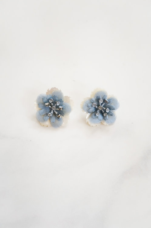 Blue Appliqué Petal Studs