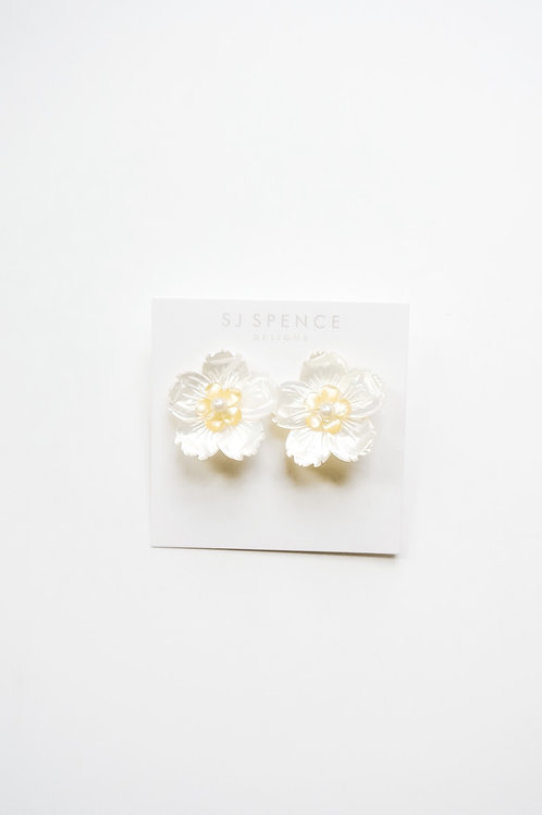 Mother of Pearl & Yellow Pearl Flower Studs