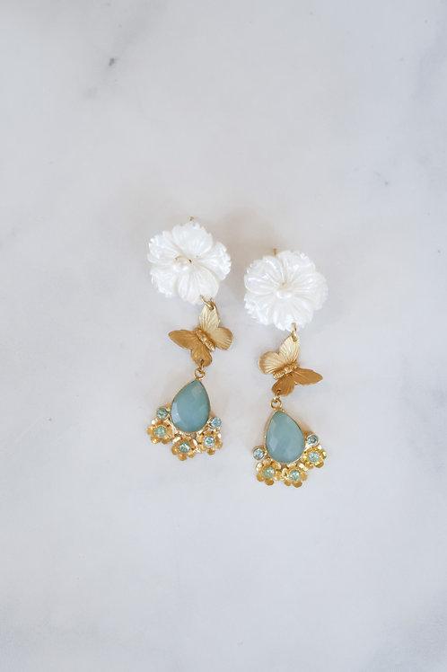 Mother of Pearl, Brass Butterflies & Aqua Jade
