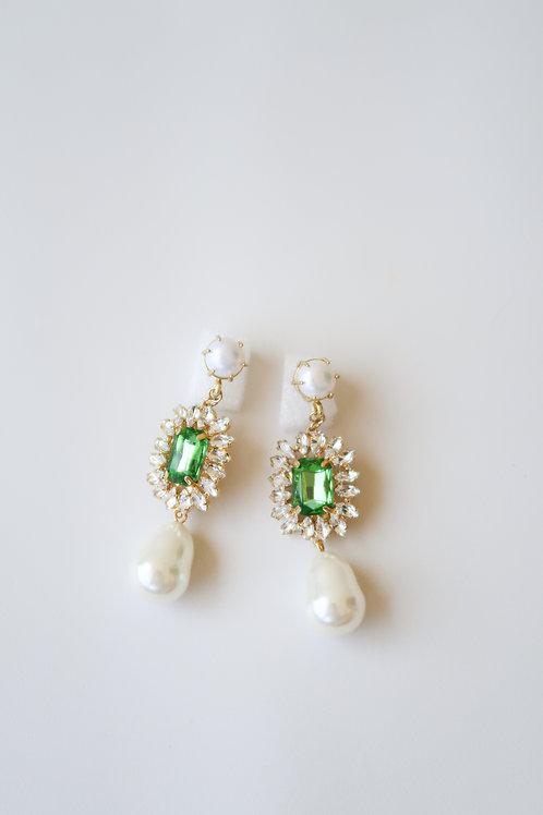 Pearl & Green Crystal Drops