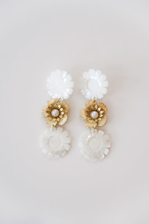 Mother of Pearl & Brass Daisies