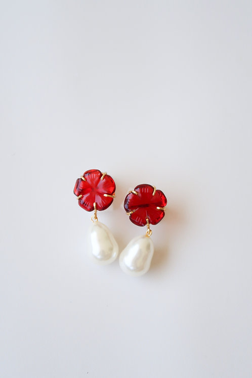 Red Quartz Flowers & Pearly Drops